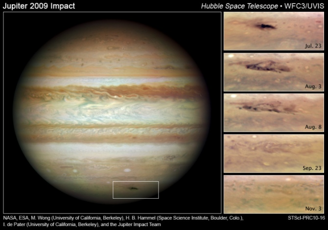 Jupiter with inset time series showing asteroid scar fading