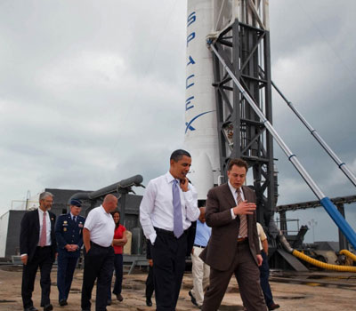 President Obama tours the Space X launch pad.