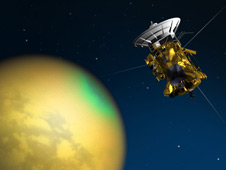 Artist's concept of Cassini's June 4, 2010 flyby of Titan