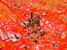 Urban heat island image of Atlanta, Georgia in 1997