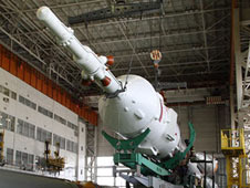 Russian technicians complete the mate of the segments of the Soyuz TMA-19 spacecraft