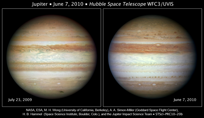 Hubble image of Jupiter in 2009 and 2010
