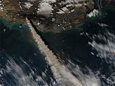 Satellite image of the ash plume from Iceland's Eyjafjallajokull volcano