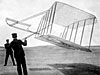 The Wright Brothers with their 1901 Glider being flown as a kite
