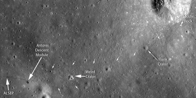 Images from LRO now show precisely just how far the Apollo 14  astronauts traveled and how close they came to reaching the crater,  their tracks ending only about 100 feet (30 meters) from the rim