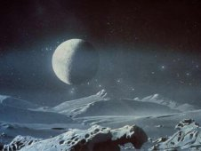 Artist concept of Pluto and its moon Chiron