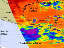 NASA AIRS satellite captures tropical storm Darby.
