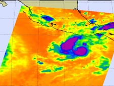 NASA's Aqua satellite captured an infrared image of Darby's clouds.