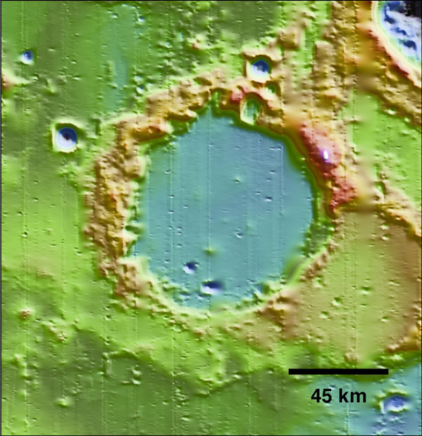 LOLA image of Goddard Crater on the moon.