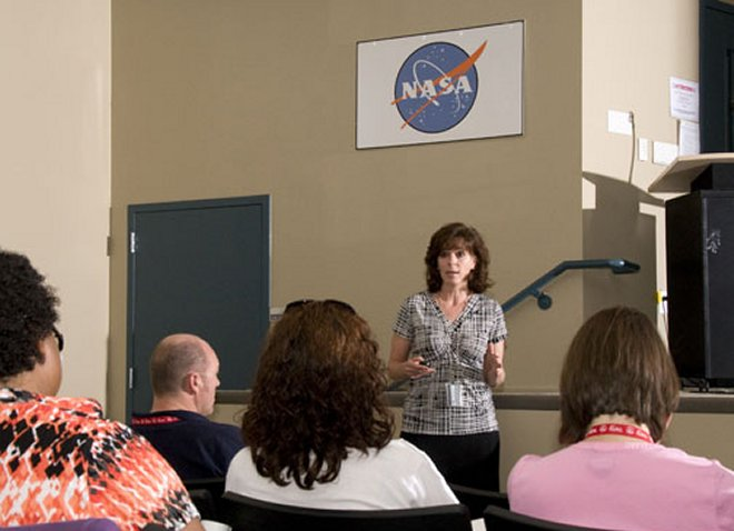 Educators attending Space Academy at the U.S. Space and Rocket Center learn about Lunar Quest.