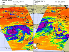 NASA's AIRS infrared imagery on June 26 (left) and 27 (right) show  tropical storm Alex's areas of high, cold, thunderstorm cloud tops.