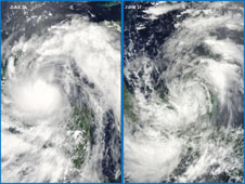 The MODIS instrument on NASA's Aqua satellite captures tropical storm Alex over the Yucatan Peninsula