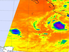 An infrared image of Darby (right) and Celia (left) from NASA's Aqua satellite AIRS instrument was captured on June 27