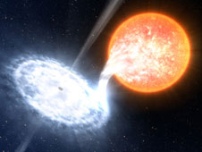 XTE J1550-564 is a binary system in which an evolved star orbits -- and donates matter to -- a black hole estimated at 10 times the sun's mass. Credit: ESO/L. Calçada