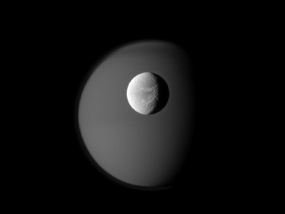 Saturn's moons Dione and Titan