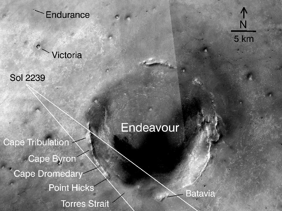 Opportunity amid Mars craters (annotated)