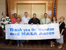 Image of Dr. Pete Worden with representatives from Park Avenue Elementary School in the Yuba City Unified District.