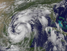 The GOES-13 satellite captured this visible image of Tropical Storm Alex on June 29