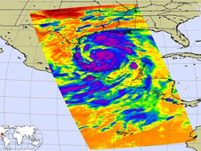 Infrared image of Tropical Storm Alex
