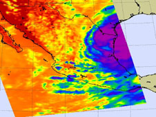 NASA's AIRS instrument aboard the Aqua satellite captured Alex about 6 hours before Alex's eye made landfall