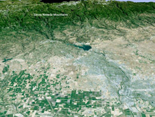 3D simulation of Sacramento to the Sierras
