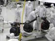 Installation of Curiosity's wheels and suspension