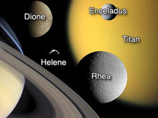 This annotated image collage features Saturn and the moons Titan, Enceladus, Dione, Rhea and Helene, which are being studied by the Cassini mission.