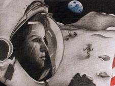 Graphite and color pencil drawing plus original music 'Beyond the Atmosphere' by Mitchell Peterson