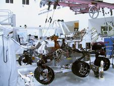 The Curiosity rover with a set of six new wheels