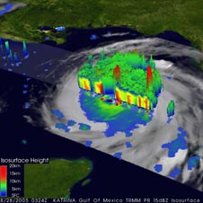 This image from the Tropical Rainfall Monitoring Mission (TRMM) satellite reveals the height and structure of Hurricane Katrina as it crossed the Gulf of Mexico on Aug. 28, 2005.