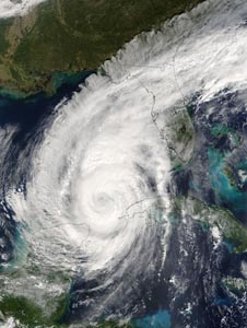Hurricane Wilma spins toward the Gulf Coast on Oct. 23, 3005, as captured in this image by NASA's MODIS instrument on the Terra satellite. NASA scientists are trying to better understand hurricanes like Wilma with the GRIP campaign.