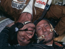 Apollo-Soyuz crewmembers meet