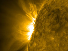 As the arcing loops above an active region began to rotate into a nice profile view, Solar Dynamics Observatory (SDO) captured the dynamic, magnetic struggles taking place below (July 6-8, 2010).