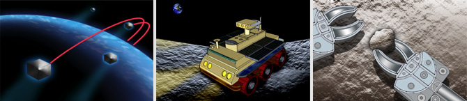 illustrations of a nano-satellite orbiting the earth, a night rover and robotic arms holding a rock
