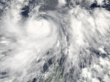 MODIS captured a visible image of Typhoon Conson on July 13 during its landfall in the northern Philippines.