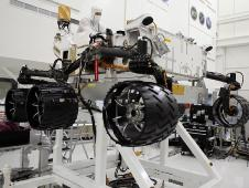 Engineers at JPL rotate Curiosity's wheels