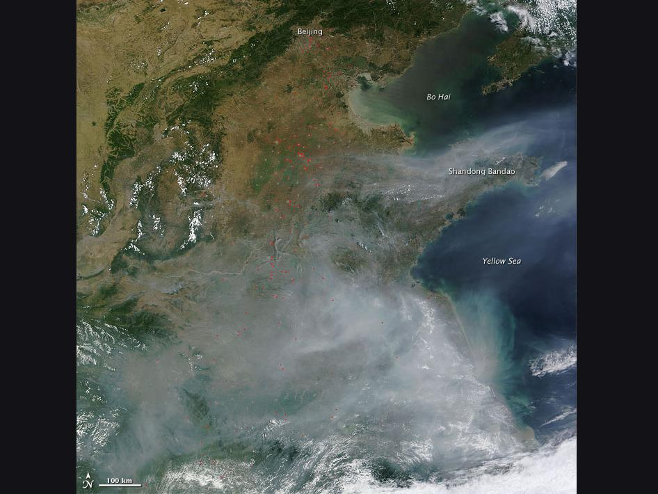 Fires in Eastern China as seen by Terra