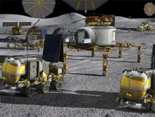 Lunar landscape and Space Exploration Vehicles