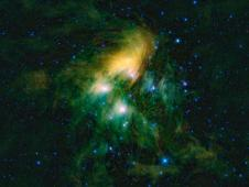 Pleiades cluster of stars seen in infrared