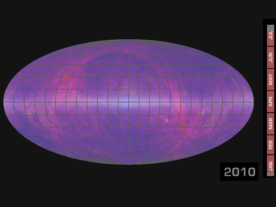 animation shows the progress of the WISE all-sky survey over time