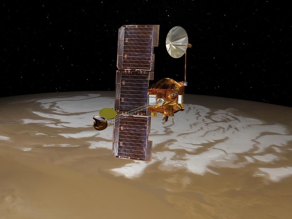 Artist's concept of NASA's Mars Odyssey spacecraft above Mars' south pole