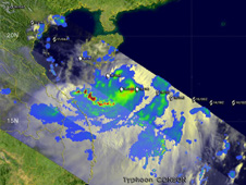 TRMM captured the image of Conson's rainfall on July 15 at 8:28 p.m. EDT bringing rain to Hainan Island, China.