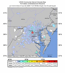 This is a USGS created map that shows earthquake intensity from the July 16 earthquake centered near Germantown, Md.