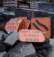 Signs from Big Dig construction area