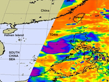 AIRS saw an area of very high thunderstorm (purple) cloud tops from northeast to southwest around the center of TD4W.