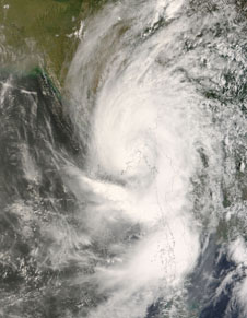 satellite image of Tropical Cyclone Nargis