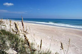 Pristine beaches line the shores of the Kennedy Space Center, Florida.