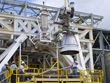 Engineers at NASA's John C. Stennis Space Center recently installed an Aerojet AJ26 rocket engine for qualification testing as part of a partnership that highlights the space agency's commitment to work with commercial companies to provide space transportation.