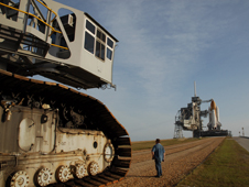 The crawler-transporter is moved to the foot of the pad