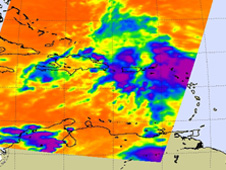 High (strong) thunderstorms in System 97L were over Haiti, the Dominican Republic, Puerto Rico, and the Virgin Islands.